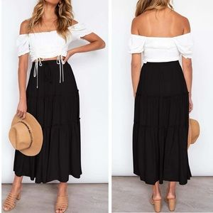 Boho Elastic High Waist Ruffle Maxi Skirt Pockets